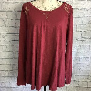 Maurices Wine Color Top with Lace Inserts